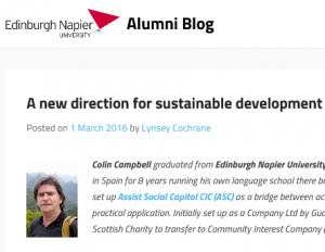 2016 - Napier Alumni Blog on Colin Campbell and Sustainable Development
